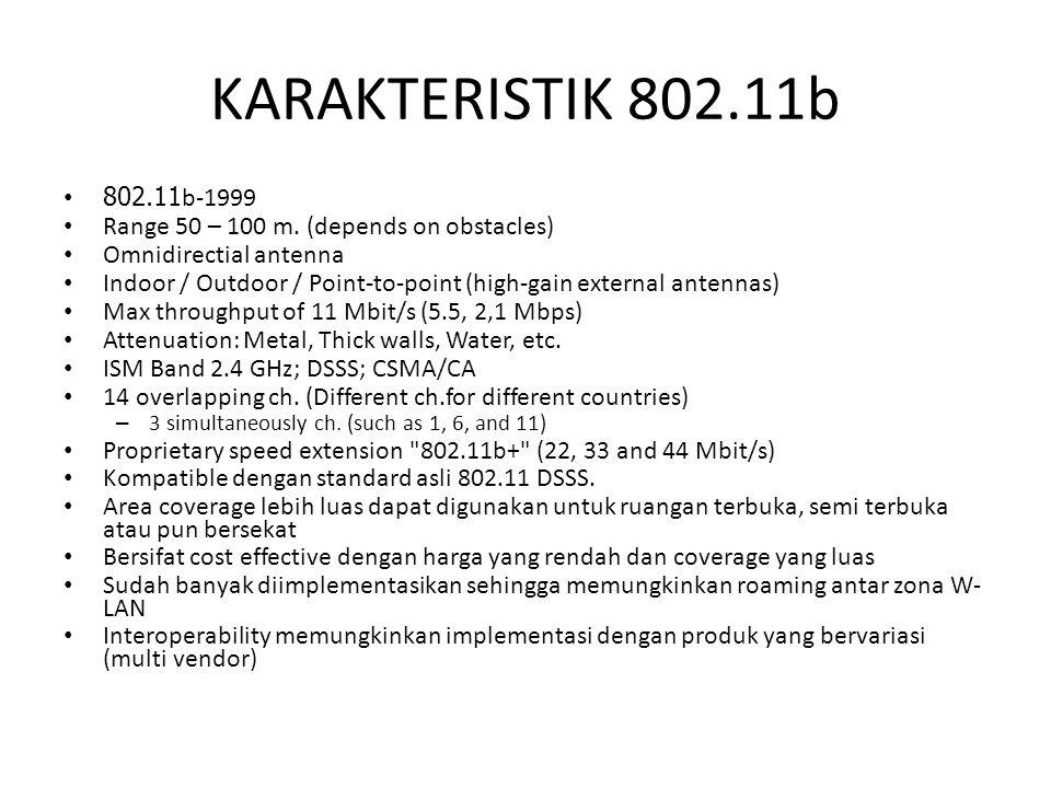 KARAKTERISTIK 802.11b 802.11b-1999 Range 50 – 100 m. (depends on obstacles) Omnidirectial antenna Indoor / Outdoor / Point-to-point (high-gain externa