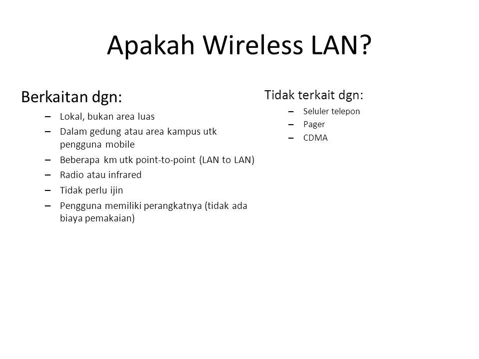 Apakah Wireless LAN? Berkaitan dgn: – Lokal, bukan area luas – Dalam gedung atau area kampus utk pengguna mobile – Beberapa km utk point-to-point (LAN