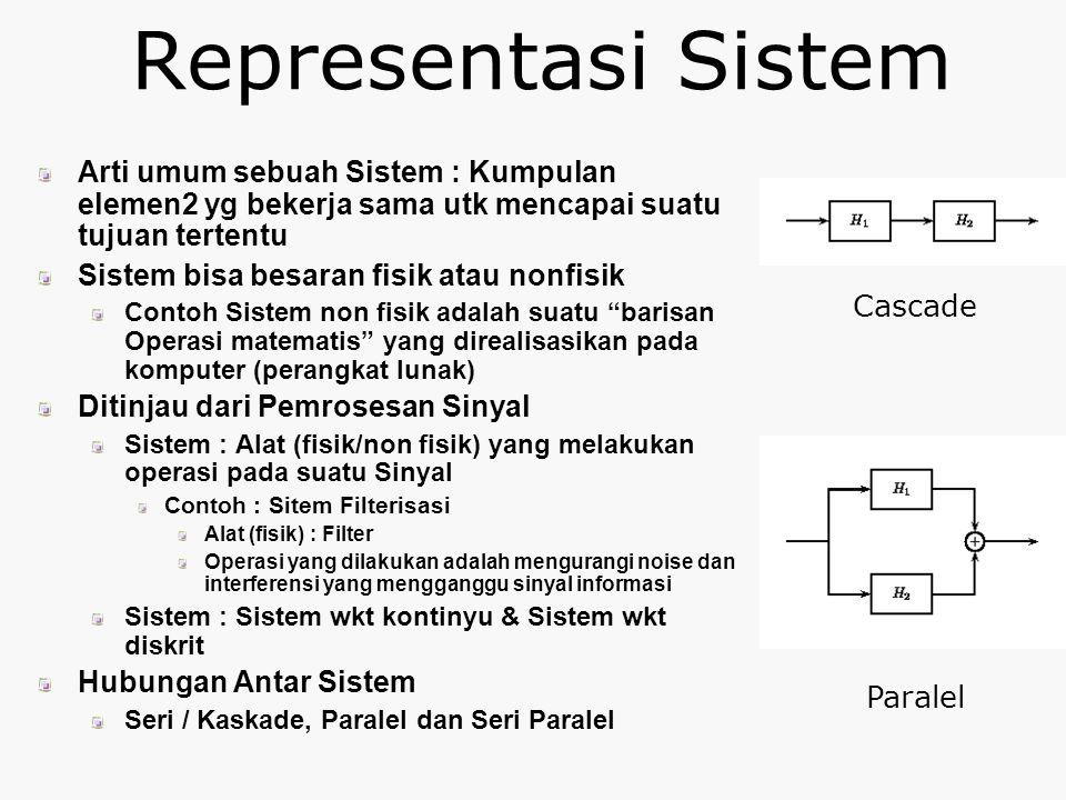 Representasi Sistem Arti umum sebuah Sistem : Kumpulan elemen2 yg bekerja sama utk mencapai suatu tujuan tertentu Sistem bisa besaran fisik atau nonfisik Contoh Sistem non fisik adalah suatu barisan Operasi matematis yang direalisasikan pada komputer (perangkat lunak) Ditinjau dari Pemrosesan Sinyal Sistem : Alat (fisik/non fisik) yang melakukan operasi pada suatu Sinyal Contoh : Sitem Filterisasi Alat (fisik) : Filter Operasi yang dilakukan adalah mengurangi noise dan interferensi yang mengganggu sinyal informasi Sistem : Sistem wkt kontinyu & Sistem wkt diskrit Hubungan Antar Sistem Seri / Kaskade, Paralel dan Seri Paralel Cascade Paralel