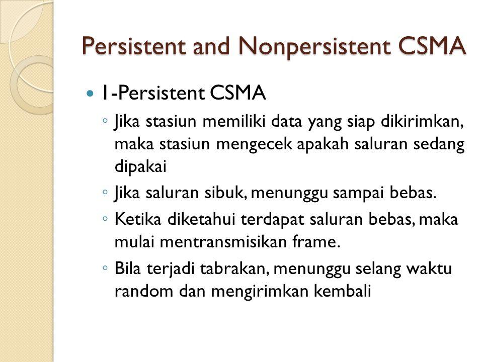 Persistent and Nonpersistent CSMA 1-Persistent CSMA ◦ Jika stasiun memiliki data yang siap dikirimkan, maka stasiun mengecek apakah saluran sedang dip