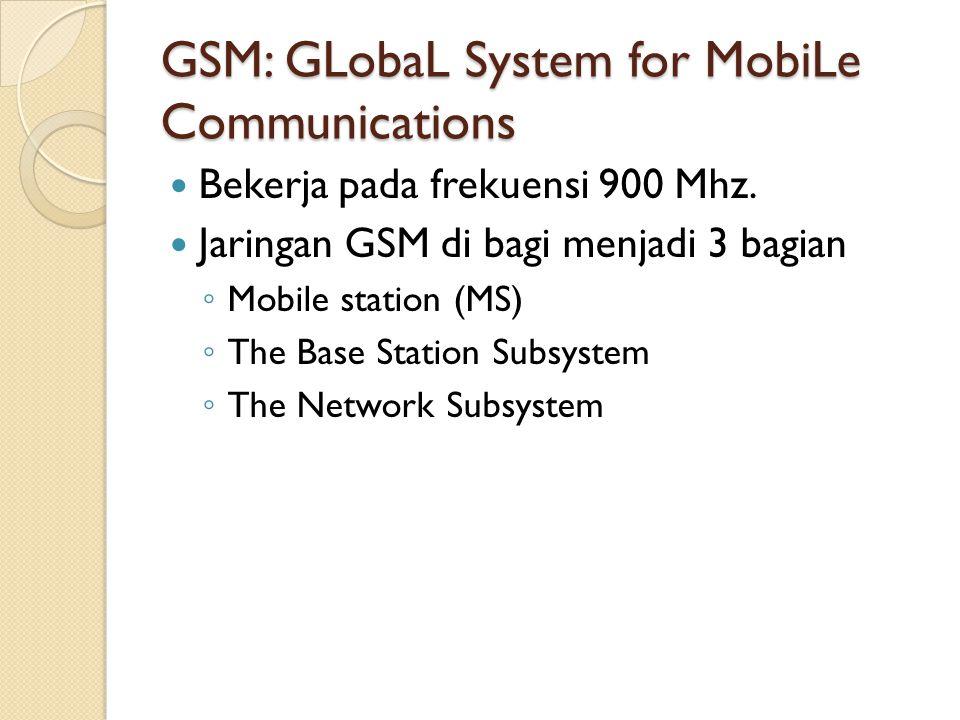 GSM: GLobaL System for MobiLe Communications Bekerja pada frekuensi 900 Mhz. Jaringan GSM di bagi menjadi 3 bagian ◦ Mobile station (MS) ◦ The Base St