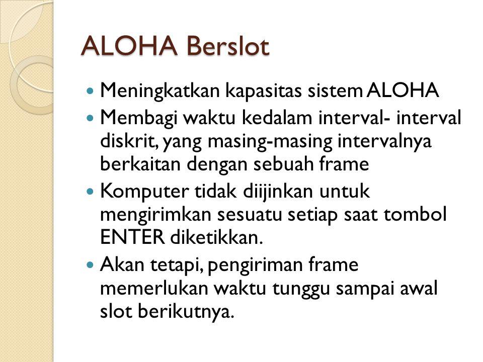 ALOHA Berslot Meningkatkan kapasitas sistem ALOHA Membagi waktu kedalam interval- interval diskrit, yang masing-masing intervalnya berkaitan dengan se