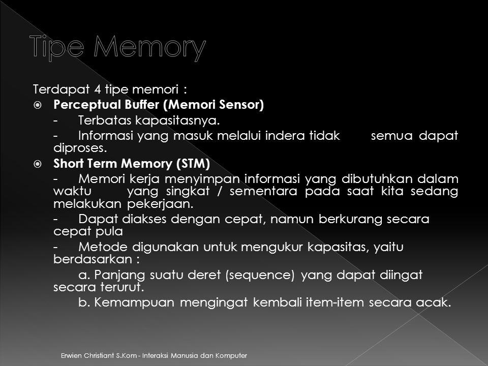Erwien Christiant S.Kom - Interaksi Manusia dan Komputer Terdapat 4 tipe memori :  Perceptual Buffer (Memori Sensor) - Terbatas kapasitasnya.