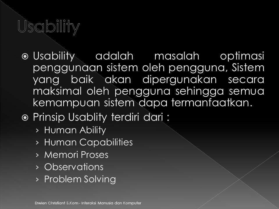 Erwien Christiant S.Kom - Interaksi Manusia dan Komputer  Usability adalah masalah optimasi penggunaan sistem oleh pengguna, Sistem yang baik akan dipergunakan secara maksimal oleh pengguna sehingga semua kemampuan sistem dapa termanfaatkan.