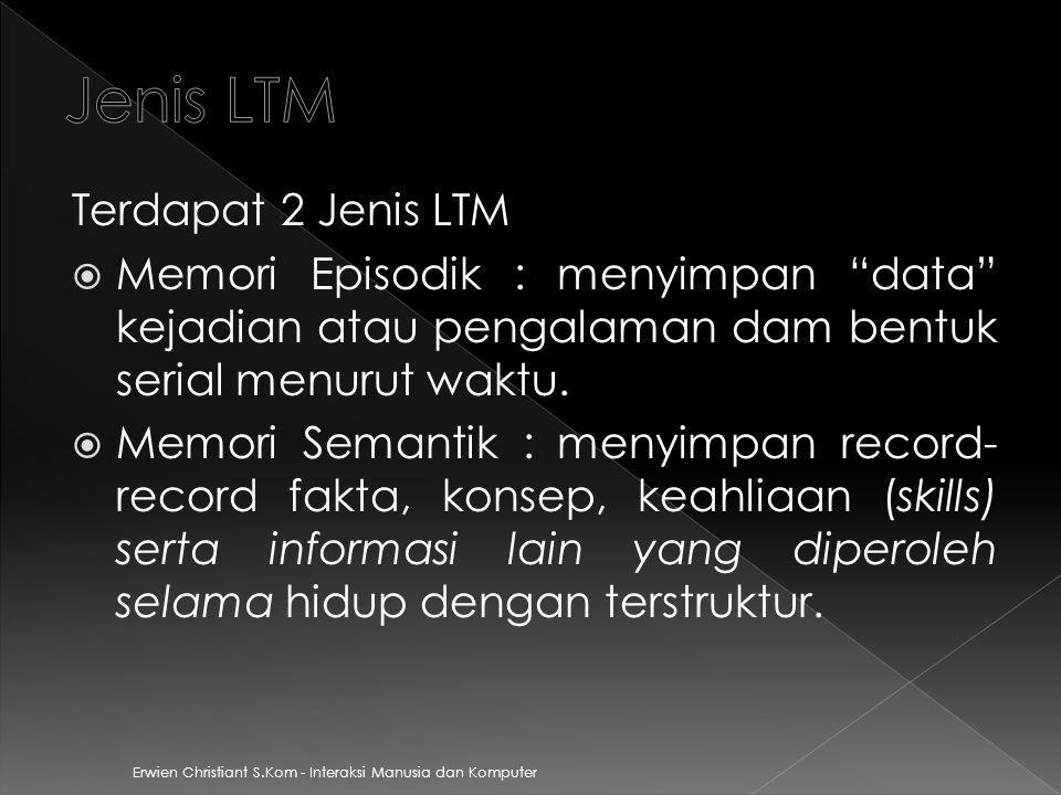 Erwien Christiant S.Kom - Interaksi Manusia dan Komputer Terdapat 2 Jenis LTM  Memori Episodik : menyimpan data kejadian atau pengalaman dam bentuk serial menurut waktu.