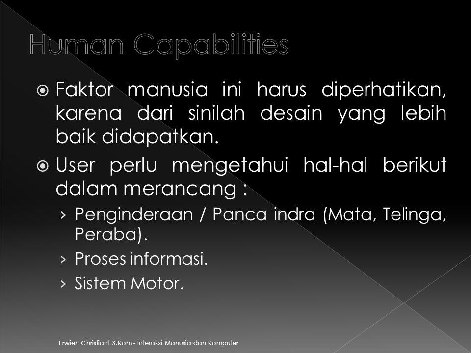 Erwien Christiant S.Kom - Interaksi Manusia dan Komputer  Faktor manusia ini harus diperhatikan, karena dari sinilah desain yang lebih baik didapatkan.
