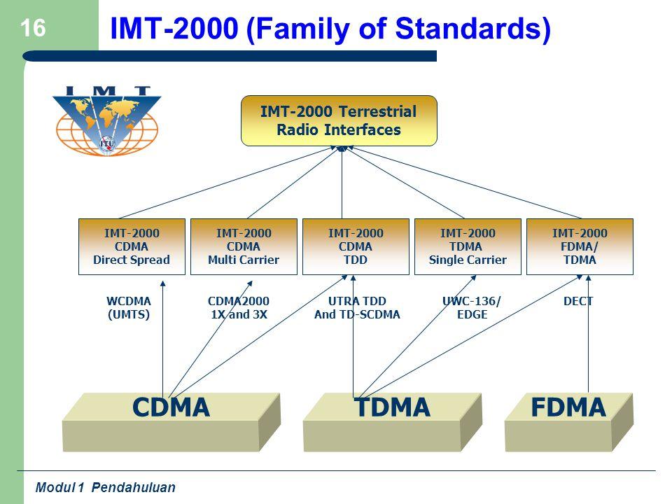 Modul 1 Pendahuluan 16 IMT-2000 (Family of Standards) IMT-2000 CDMA Direct Spread IMT-2000 CDMA Multi Carrier IMT-2000 CDMA TDD IMT-2000 TDMA Single C