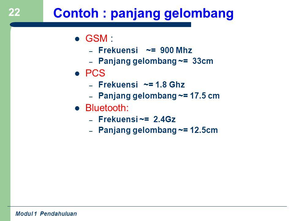 Modul 1 Pendahuluan 22 Contoh : panjang gelombang GSM : – Frekuensi ~= 900 Mhz – Panjang gelombang ~= 33cm PCS – Frekuensi ~= 1.8 Ghz – Panjang gelomb