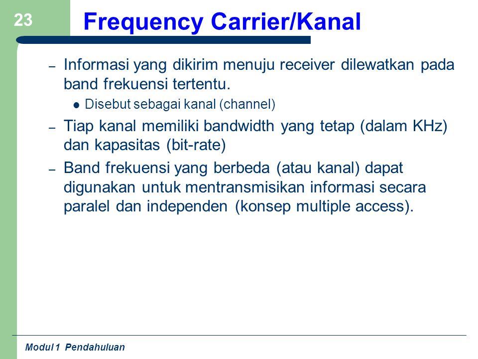 Modul 1 Pendahuluan 23 Frequency Carrier/Kanal – Informasi yang dikirim menuju receiver dilewatkan pada band frekuensi tertentu. Disebut sebagai kanal