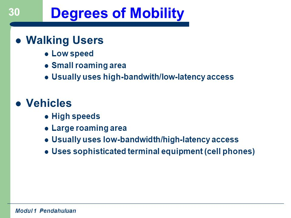 Modul 1 Pendahuluan 30 Degrees of Mobility Walking Users Low speed Small roaming area Usually uses high-bandwith/low-latency access Vehicles High speeds Large roaming area Usually uses low-bandwidth/high-latency access Uses sophisticated terminal equipment (cell phones)