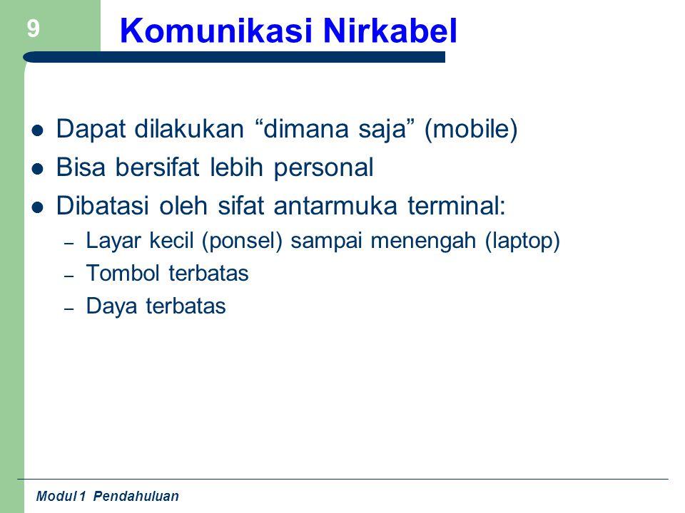 """Modul 1 Pendahuluan 9 Komunikasi Nirkabel Dapat dilakukan """"dimana saja"""" (mobile) Bisa bersifat lebih personal Dibatasi oleh sifat antarmuka terminal:"""