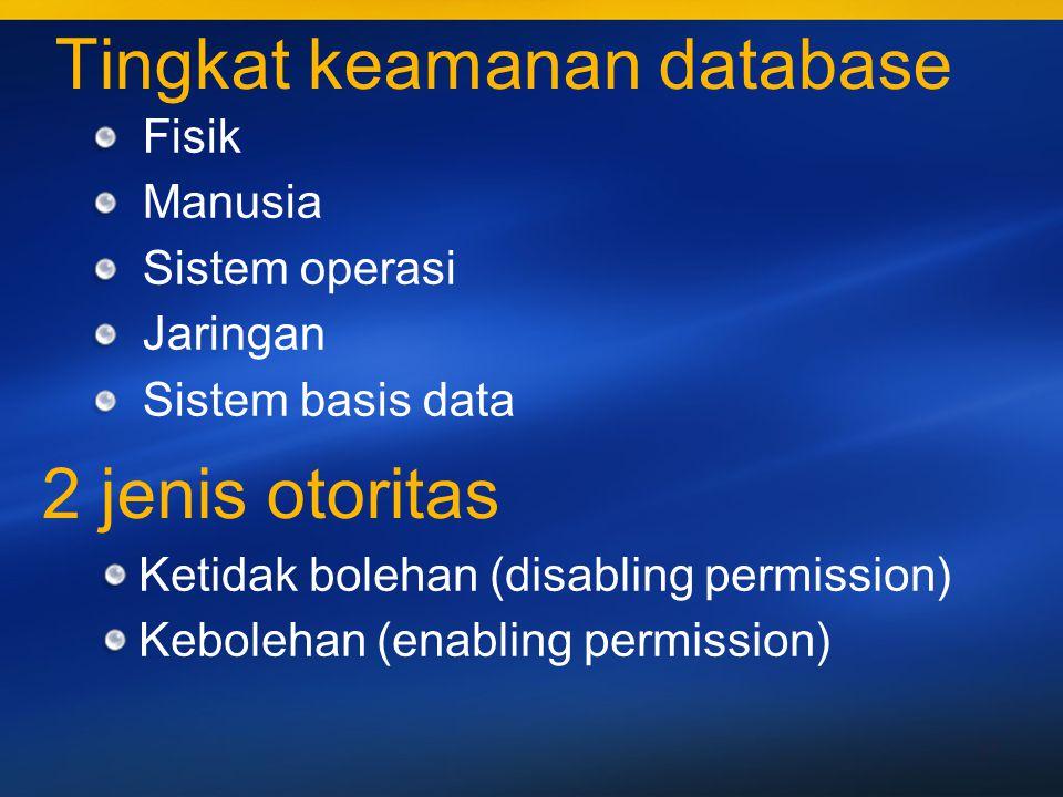 12 Ketidak bolehan (disabling permission) dan Kebolehan (enabling permission) dikenakan pada objek-objek : Tabel / relasi Indeks View Contoh view