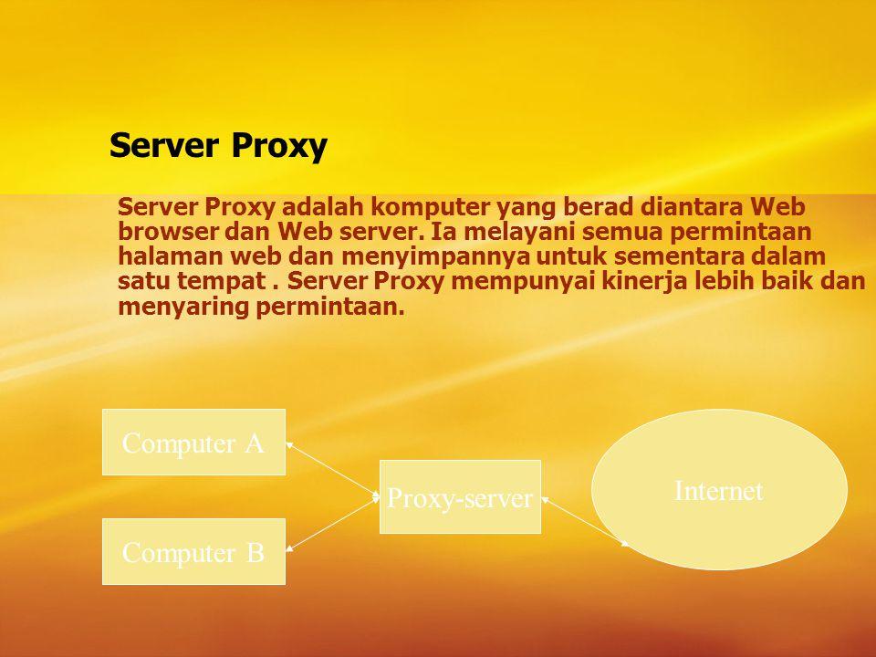 Firewall Firewall – adalah sistem untuk mencegah akses yang tidak diperkenankan ke atau dari jaringan pribadi.