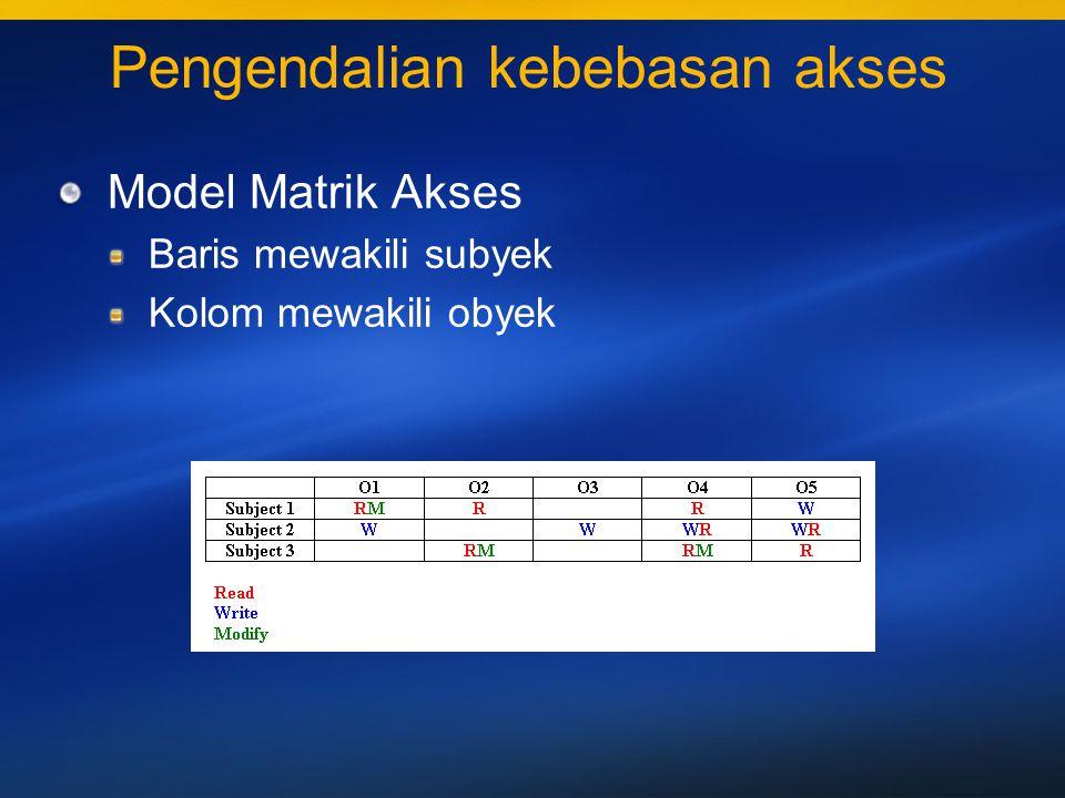 34 Pengendalian perintah akses Tingkat sensitifitas Top Secret, Secret, Confidential, Unclassified Jenis kebijakan pengamanan class (S) >= class (O) Menentukan pembatasan Properti pengamanan sederhana Read (O) iff class (S) >= class (O) Star Property Write (O) iff class (S) <= class (O)