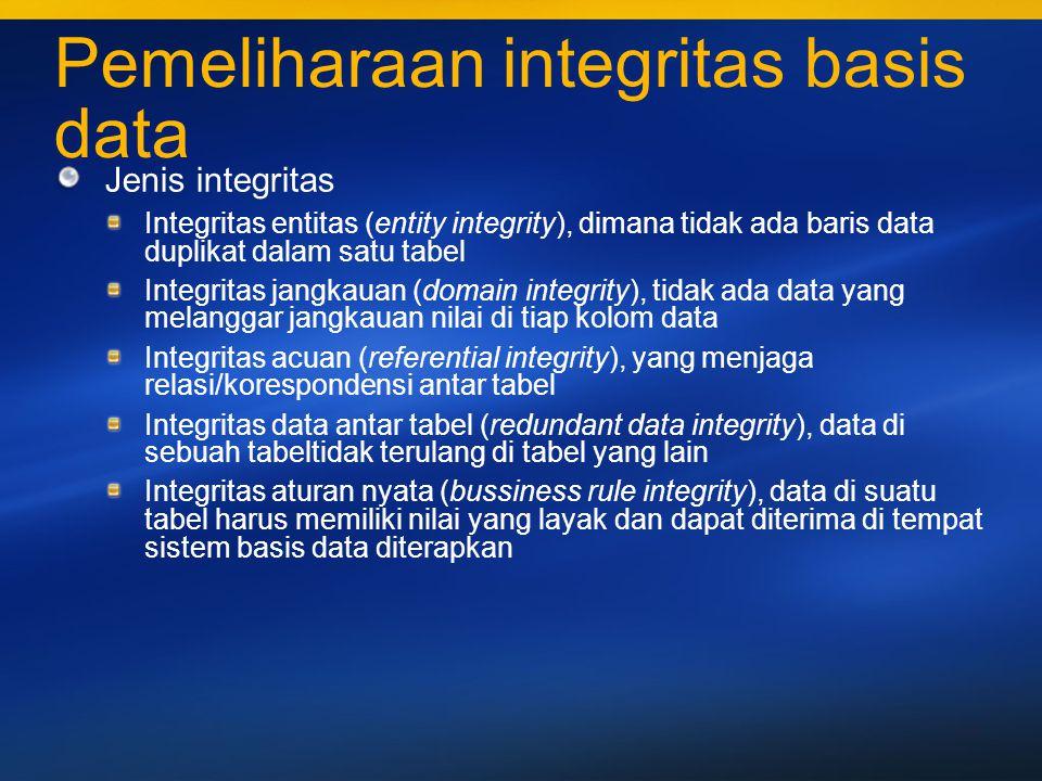 37 Integritas entitas Agar integritas entitas dapat dijaga, maka dapat ditempuh cara : Penentuan key pada tabel basis data Penerapan proses validasi pada program pemasukan data
