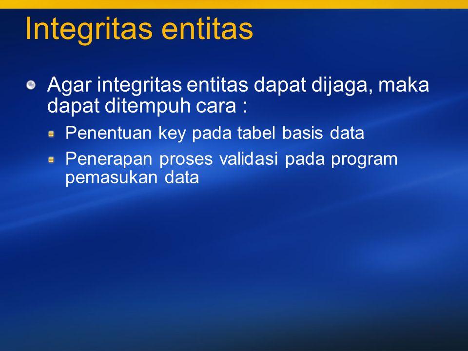 38 Integritas jangkauan Jenis jangkauan yang dapat dimiliki suatu atribut : Karakter bebas Alfanumerik Alfabet Numerik Pemeliharaan integritas jangkauan Pendefinisian skema/struktur tabel Pemanfaatan properti field Penerapan proses validasi pada program pemasukkan data