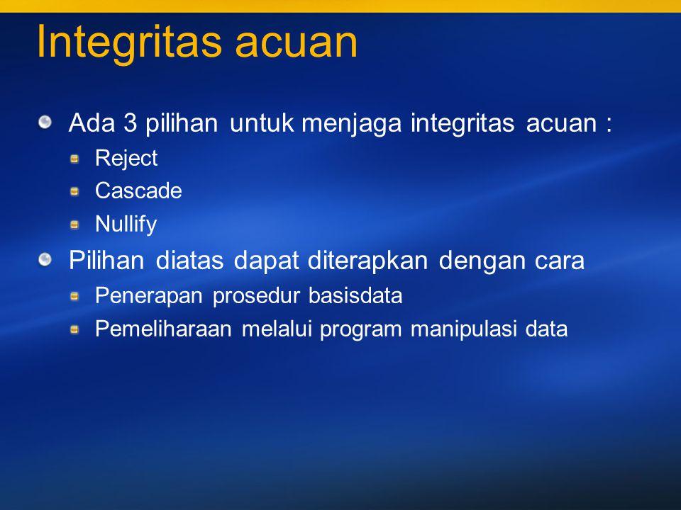 40 Pemaksaan integritas Didefinisikan dan dikontrol di server DBMS tempat basisdata dikelola, atau Didefinisikan dan dikontrol melalui program aplikasi dari mana pemakai melakukan pemanipulasian data