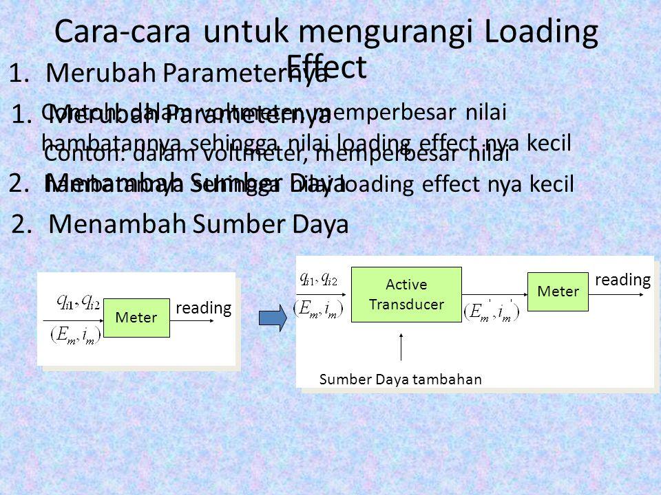 Cara-cara untuk mengurangi Loading Effect 1.Merubah Parameternya Contoh: dalam voltmeter, memperbesar nilai hambatannya sehingga nilai loading effect