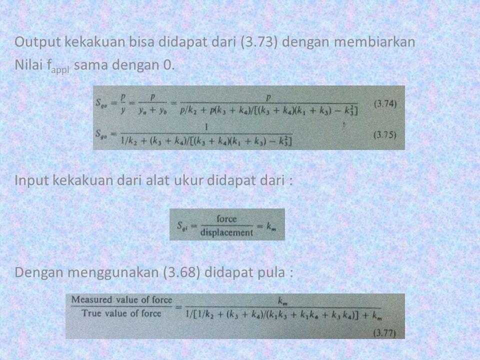 Output kekakuan bisa didapat dari (3.73) dengan membiarkan Nilai f appl sama dengan 0. Input kekakuan dari alat ukur didapat dari : Dengan menggunakan