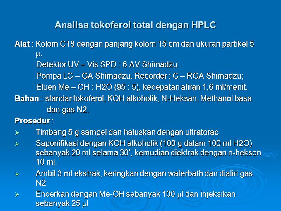 Analisa tokoferol total dengan HPLC Alat : Kolom C18 dengan panjang kolom 15 cm dan ukuran partikel 5 . Detektor UV – Vis SPD : 6 AV Shimadzu. Detekt