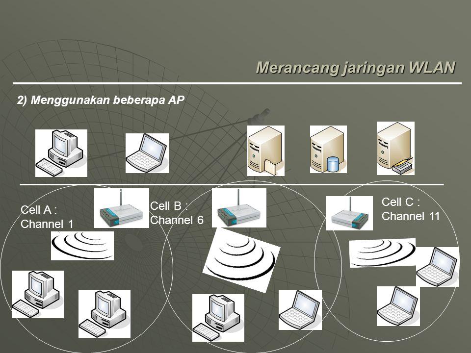 Merancang jaringan WLAN 2) Menggunakan beberapa AP Cell A : Channel 1 Cell B : Channel 6 Cell C : Channel 11
