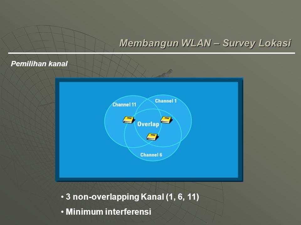 Membangun WLAN – Survey Lokasi Pemilihan kanal 3 non-overlapping Kanal (1, 6, 11) Minimum interferensi