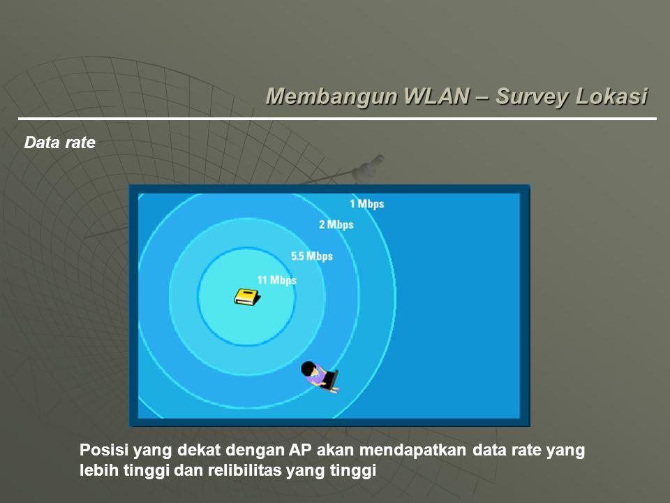 Membangun WLAN – Survey Lokasi Data rate Posisi yang dekat dengan AP akan mendapatkan data rate yang lebih tinggi dan relibilitas yang tinggi