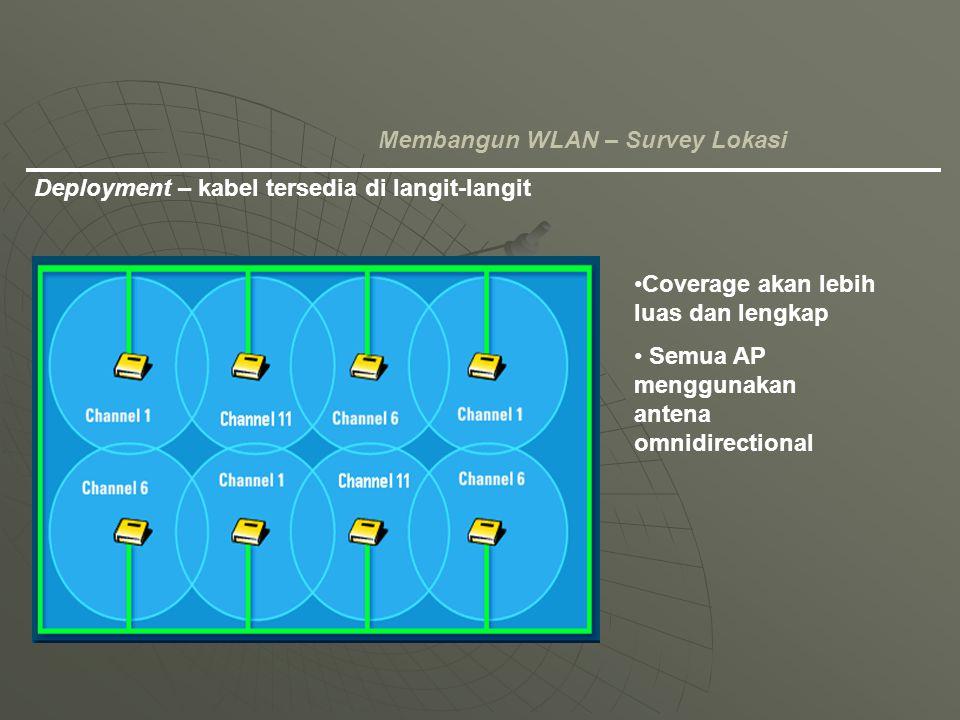 Coverage akan lebih luas dan lengkap Semua AP menggunakan antena omnidirectional Deployment – kabel tersedia di langit-langit Membangun WLAN – Survey