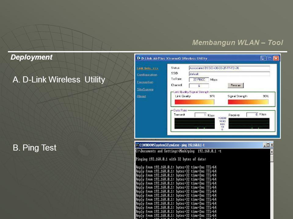 Deployment Membangun WLAN – Tool A. D-Link Wireless Utility B. Ping Test