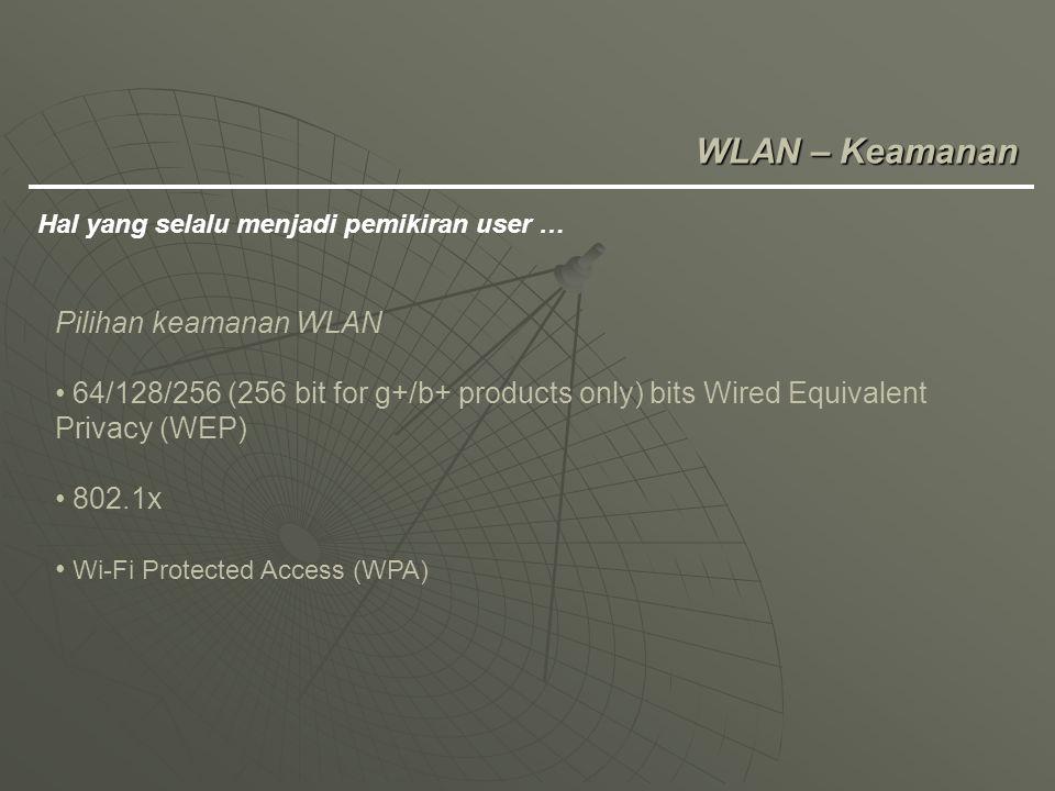 WLAN – Keamanan Hal yang selalu menjadi pemikiran user … Pilihan keamanan WLAN 64/128/256 (256 bit for g+/b+ products only) bits Wired Equivalent Priv