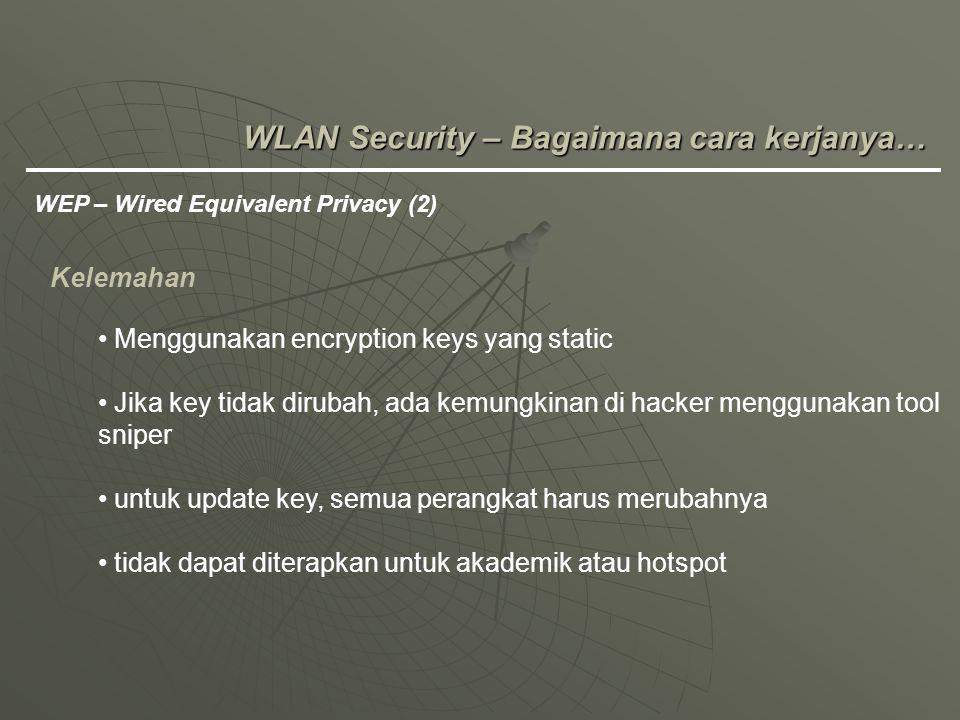 WLAN Security – Bagaimana cara kerjanya… WEP – Wired Equivalent Privacy (2) Kelemahan Menggunakan encryption keys yang static Jika key tidak dirubah,