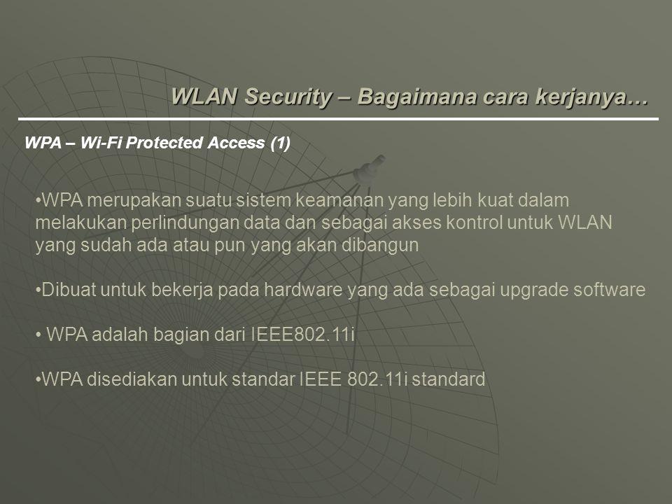 WLAN Security – Bagaimana cara kerjanya… WPA – Wi-Fi Protected Access (1) WPA merupakan suatu sistem keamanan yang lebih kuat dalam melakukan perlindu