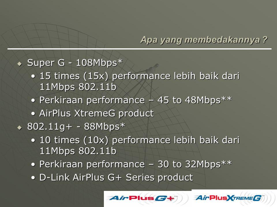 Apa yang membedakannya ?  Super G - 108Mbps* 15 times (15x) performance lebih baik dari 11Mbps 802.11b15 times (15x) performance lebih baik dari 11Mb