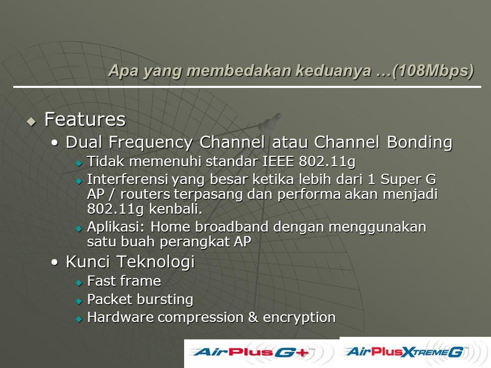  Features Dual Frequency Channel atau Channel BondingDual Frequency Channel atau Channel Bonding  Tidak memenuhi standar IEEE 802.11g  Interferensi