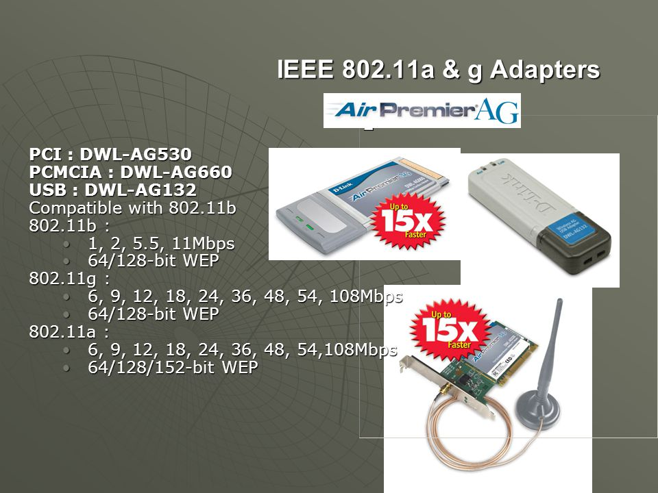 IEEE 802.11a & g Adapters PCI : DWL-AG530 PCMCIA : DWL-AG660 USB : DWL-AG132 Compatible with 802.11b 802.11b : 1, 2, 5.5, 11Mbps 1, 2, 5.5, 11Mbps 64/