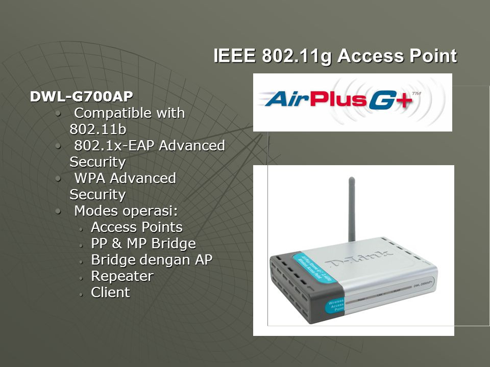 IEEE 802.11g Access Point DWL-G700AP Compatible with 802.11b Compatible with 802.11b 802.1x-EAP Advanced Security 802.1x-EAP Advanced Security WPA Adv