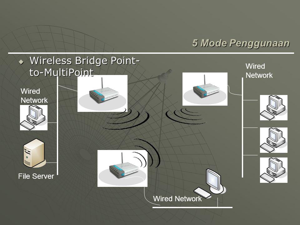 File Server Wired Network  Wireless Bridge Point- to-MultiPoint 5 Mode Penggunaan