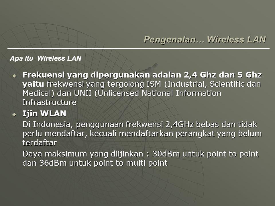  Frekuensi yang dipergunakan adalan 2,4 Ghz dan 5 Ghz yaitu frekwensi yang tergolong ISM (Industrial, Scientific dan Medical) dan UNII (Unlicensed Na