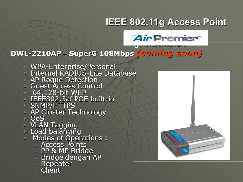 IEEE 802.11g Access Point DWL-2210AP – SuperG 108Mbps (coming soon) WPA-Enterprise/PersonalWPA-Enterprise/Personal Internal RADIUS-Lite DatabaseIntern