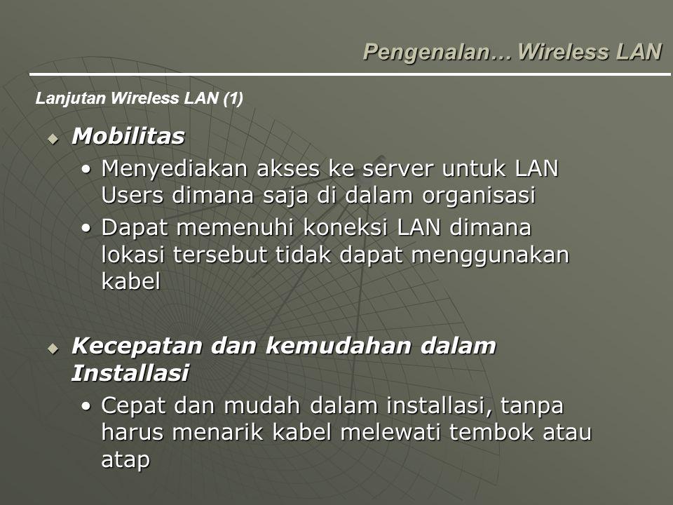  Scalability Memudahkan merubah konfigurasi, dari peer to peer atau jaringan kecil, menjadi jaringan yang lebih luasMemudahkan merubah konfigurasi, dari peer to peer atau jaringan kecil, menjadi jaringan yang lebih luas Pengenalan… Wireless LAN lanjutan Wireless LAN ( 2)