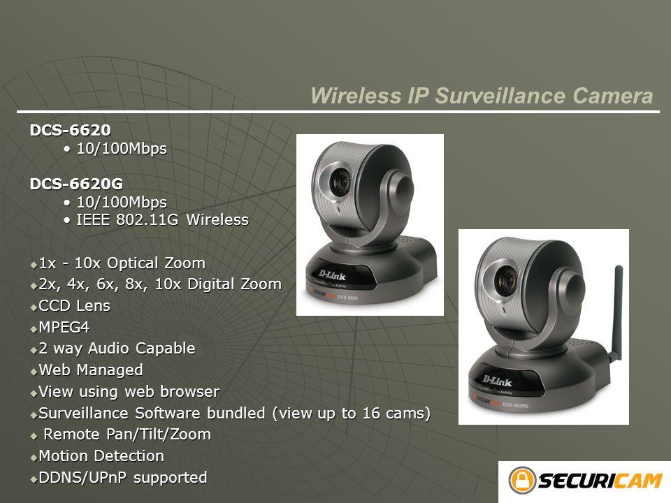 DCS-6620 10/100Mbps 10/100MbpsDCS-6620G IEEE 802.11G Wireless IEEE 802.11G Wireless  1x - 10x Optical Zoom  2x, 4x, 6x, 8x, 10x Digital Zoom  CCD L