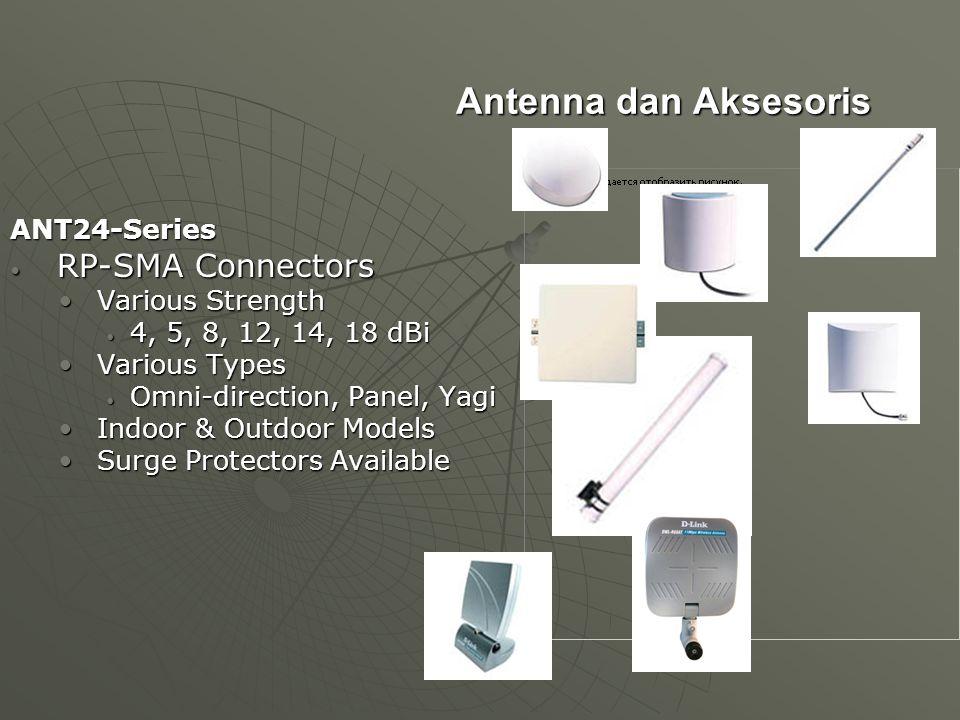 Antenna dan Aksesoris ANT24-Series RP-SMA Connectors RP-SMA Connectors Various Strength Various Strength 4, 5, 8, 12, 14, 18 dBi 4, 5, 8, 12, 14, 18 d