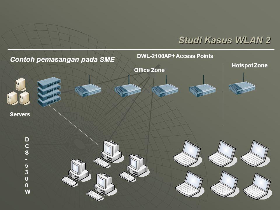 Studi Kasus WLAN 2 Contoh pemasangan pada SME DWL-2100AP+ Access Points DCS-5300WDCS-5300W Servers Hotspot Zone Office Zone