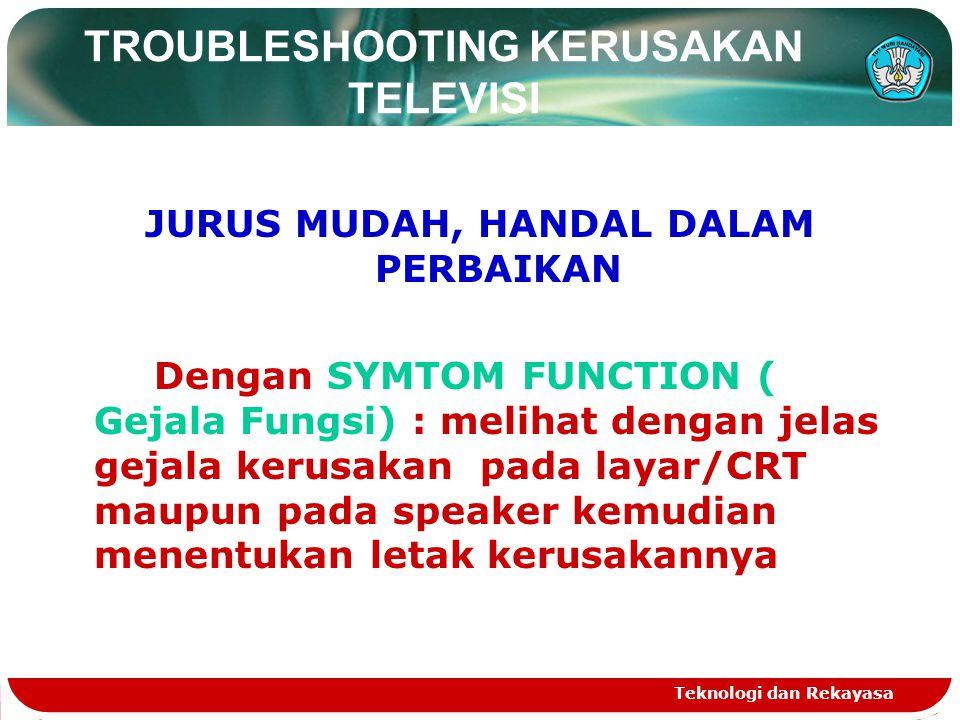 Teknologi dan Rekayasa TROUBLESHOOTING KERUSAKAN TELEVISI JURUS MUDAH, HANDAL DALAM PERBAIKAN Dengan SYMTOM FUNCTION ( Gejala Fungsi) : melihat dengan jelas gejala kerusakan pada layar/CRT maupun pada speaker kemudian menentukan letak kerusakannya