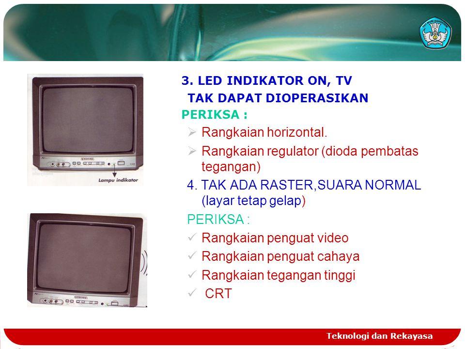 Teknologi dan Rekayasa 3. LED INDIKATOR ON, TV TAK DAPAT DIOPERASIKAN PERIKSA :  Rangkaian horizontal.  Rangkaian regulator (dioda pembatas tegangan