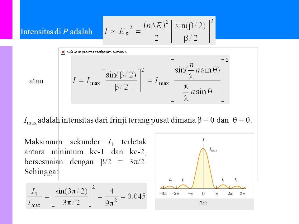 Medan listrik resultan di P adalah dimana Dari diagram fasor, dapat dilihat bahwa: Lebih lanjut, dari diagram fasor dapat ditentukan bahwa: 