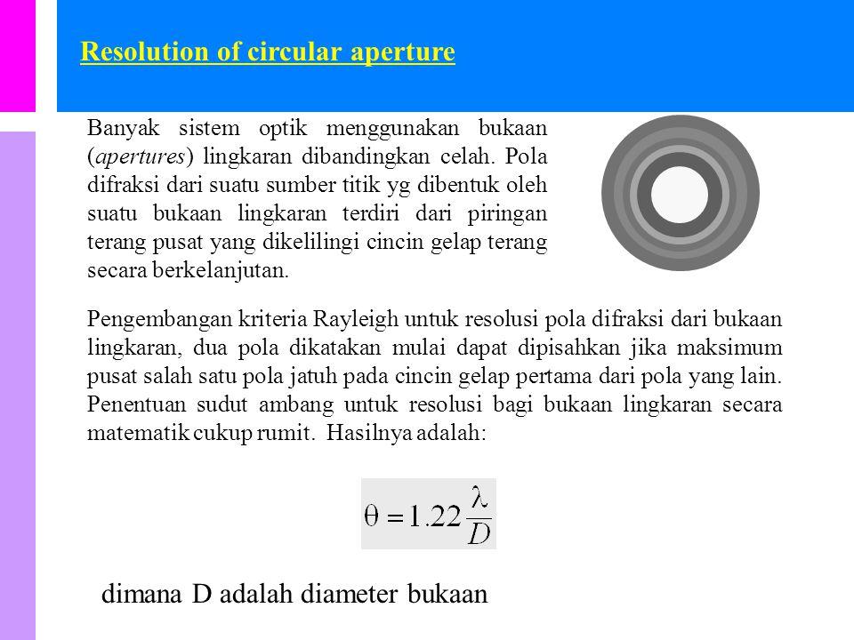 Resolusi dari celah tunggal (rectangular aperture) Tinjau cahaya dari dua sumber yg melewati suatu sudut  pada suatu celat (  disebut juga sebagai separasi angular dari dua sumber) sebagaimana ditunjukkan dalam gambar.