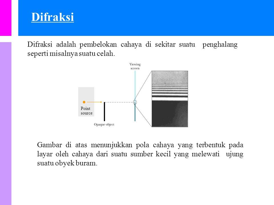 Difraksi adalah pembelokan cahaya di sekitar suatu penghalang seperti misalnya suatu celah.