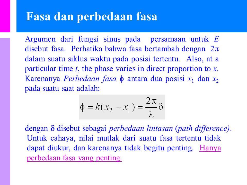 Fasa dan perbedaan fasa Argumen dari fungsi sinus pada persamaan untuk E disebut fasa.