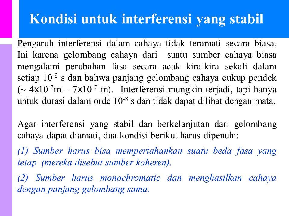 Kondisi untuk interferensi yang stabil Pengaruh interferensi dalam cahaya tidak teramati secara biasa.